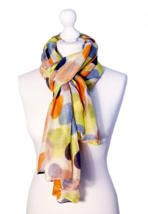 Believe - Large Silky Touch Bright Polka Dot Design Fashion Scarf  (White and Bright)